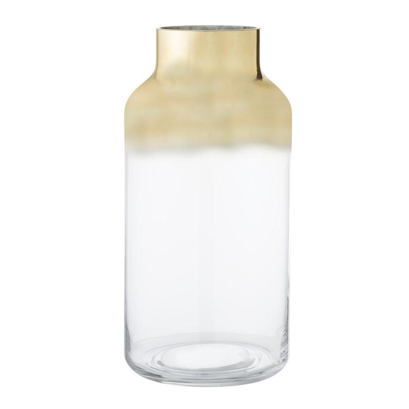 Bloomingville Vase Glas groß 2 farbig gold transparent Blumenvase Höhe 35 cm
