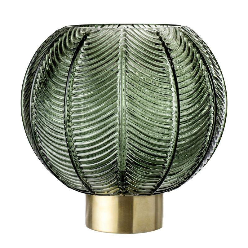 Bloomingville Vase Glas grün Kugel Form Blatt Design mit Sockel gold 21 cm hoch Blätter Design Muster Blumenvase