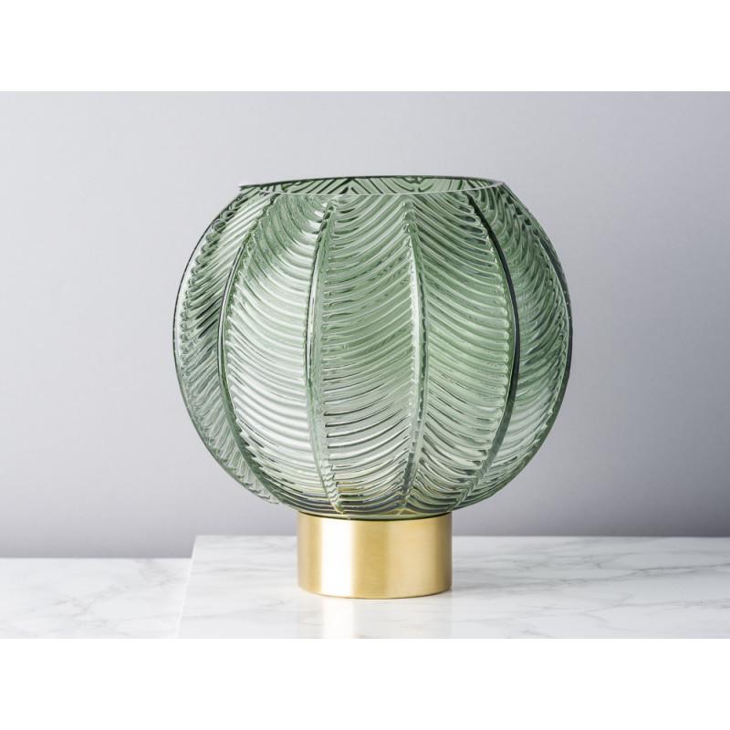 Bloomingville Vase Glas grün Kugel mit Blatt Design mit Sockel gold 21 cm hoch Blätter Muster Blumenvase Modern