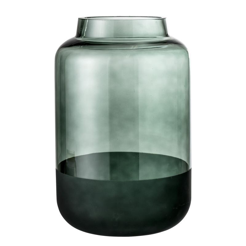 Bloomingville Vase Glas grün runde Form Sockel dunkelgrün mattiert 26 cm hoch Blumenvase