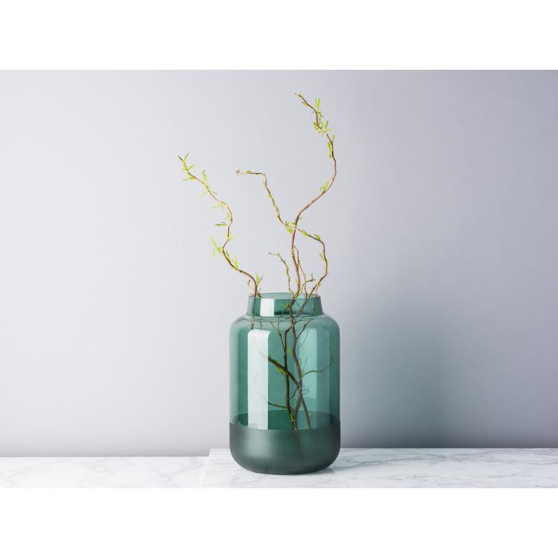 Bloomingville Vase Glas grün runde Sockel matt dunkelgrün 26 cm hoch groß Blumenvase Top Dekoration Modern mit Zweigen