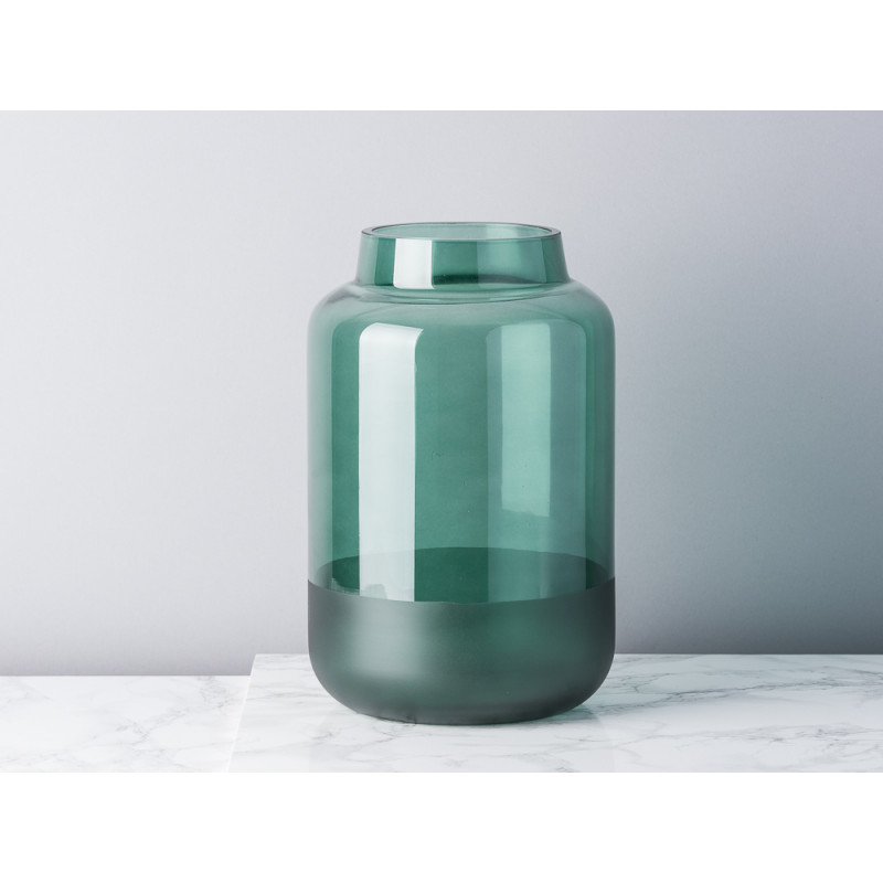Bloomingville Vase Glas grün runde Sockel matt dunkelgrün 26 cm hoch groß Blumenvase Top Modern