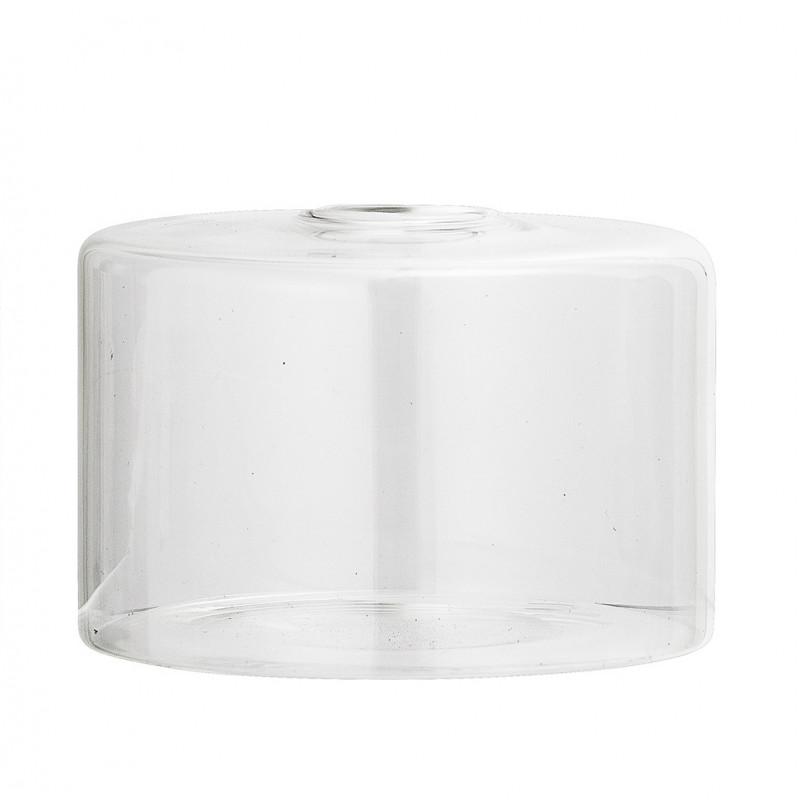 Bloomingville Vase Glas Klar Blumenvase Zylinder Form 65 mm hoch Durchmesser 10 cm weiß Hochzeitsdeko