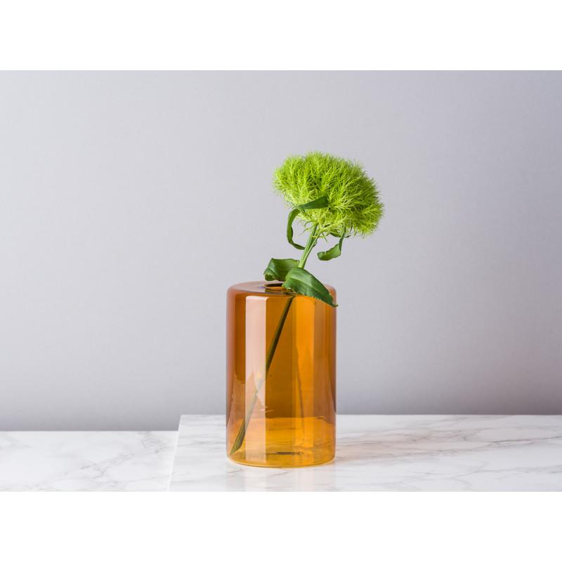 Bloomingville Vase Glas Orange Braun Blumenvase Zylinder 13 cm hoch Durchmesser 8 cm rund Design Modern für eine Blume mit Bartnelke