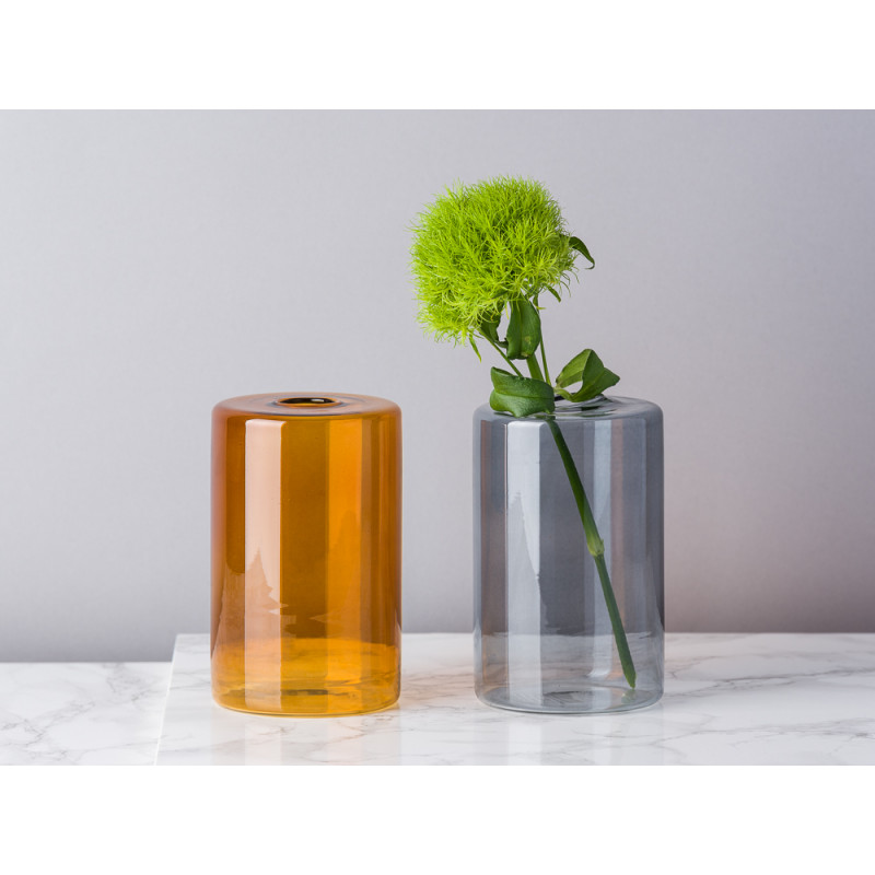 Bloomingville Vase Glas Orange und Grau Blumenvase Zylinder mittel schlicht für eine Blume