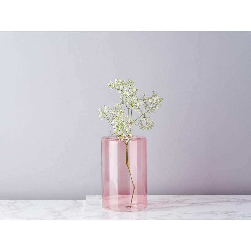 Bloomingville Vase Glas Rosa Blumenvase Zylinder 16 cm hoch Durchmesser 10 cm rund Design Modern für eine Blume mit Schafsgabe
