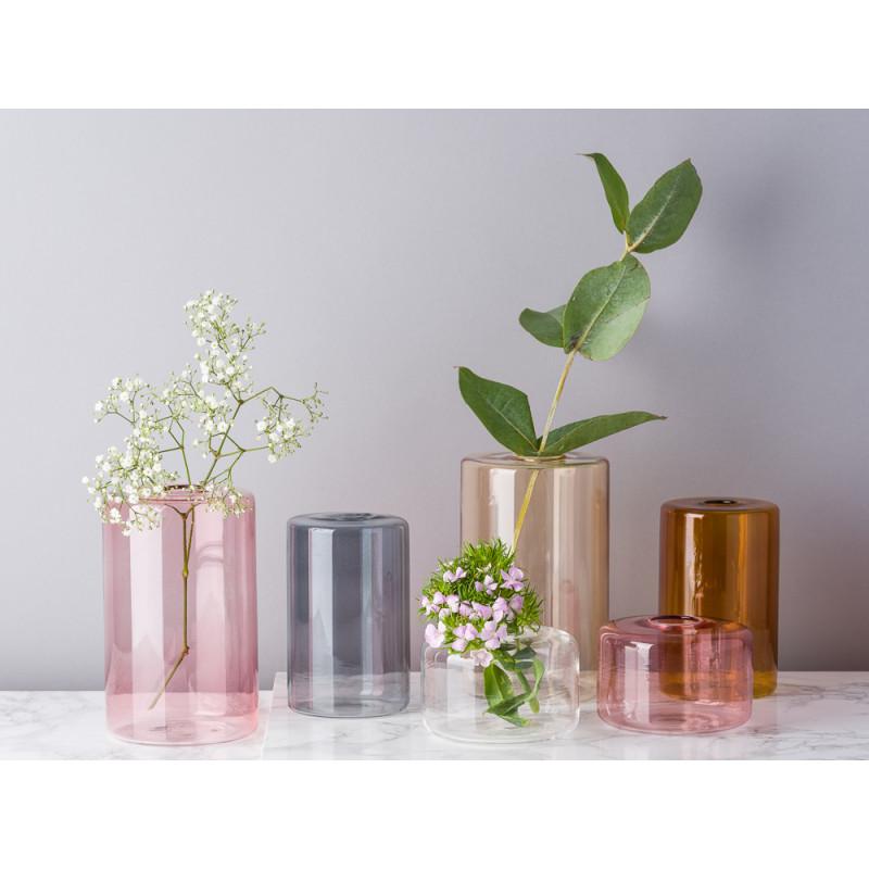 Bloomingville Vase Glas Rosa Grau Weiß Braun und Orange Blumenvase Zylinder schlicht für eine Blume Modern Dekoration Idee mit einer Blume