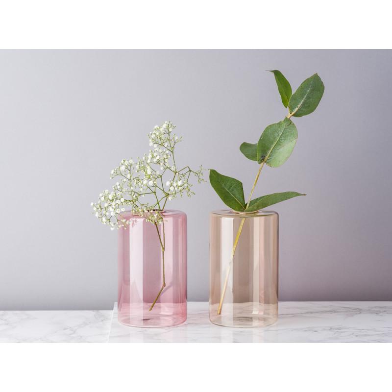 Bloomingville Vase Glas Rosa und Braun Blumenvase Zylinder groß schlicht für eine Blume