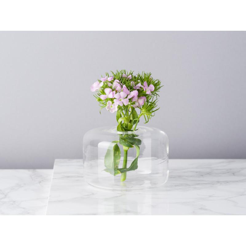 Bloomingville Vase Glas Weiß Blumenvase Zylinder 65 mm hoch Durchmesser 10 cm rund Design Modern für eine Blume