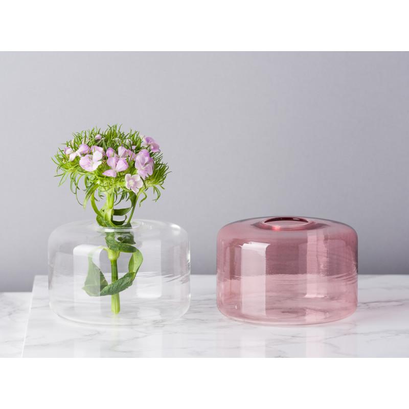 Bloomingville Vase Glas Weiß und Rosa Blumenvase Zylinder klein schlicht für eine Blume