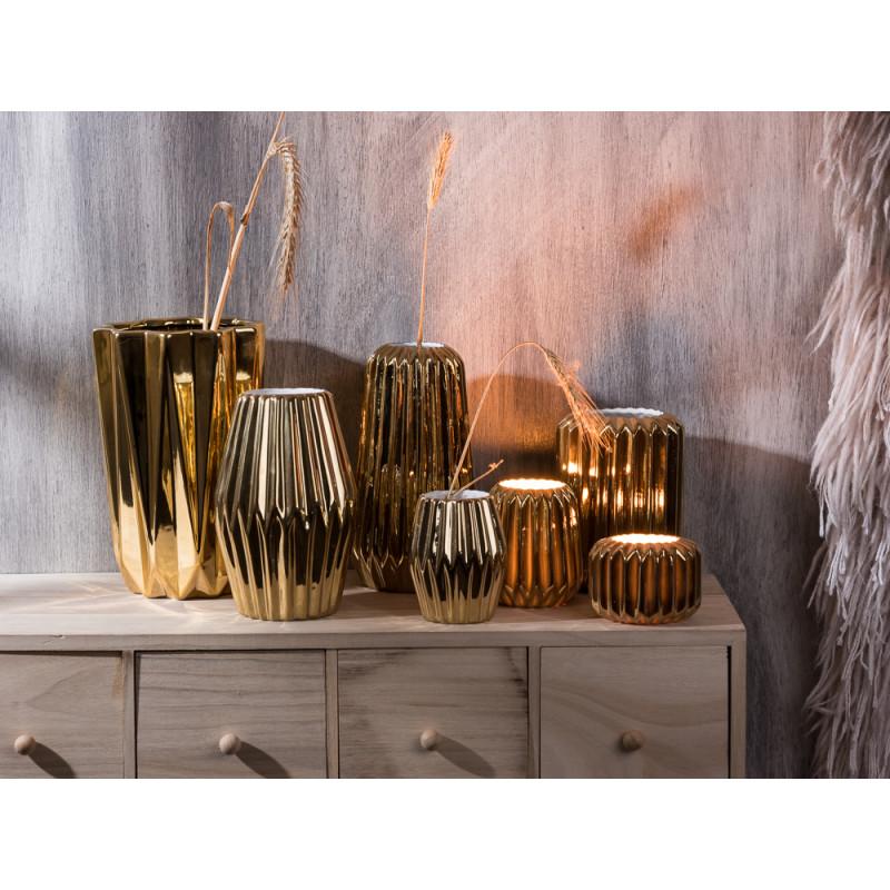 Bloomingville Vase gold Porzellan Rillen Struktur vertikal rund rhombus konisch groß Votive Windlicht mit Kerzenschein vertical structure vase