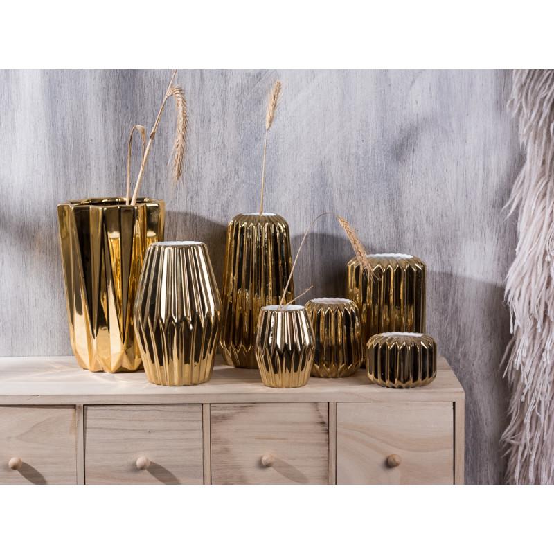 Bloomingville Vase gold Porzellan Rillen Struktur vertikal rund rhombus konisch groß Votive Windlicht