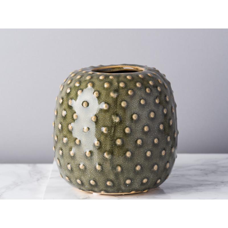 Bloomingville Vase grün Keramik rund bauchig Blumenvase mit Kaktus Punkte Struktur rustikal modern