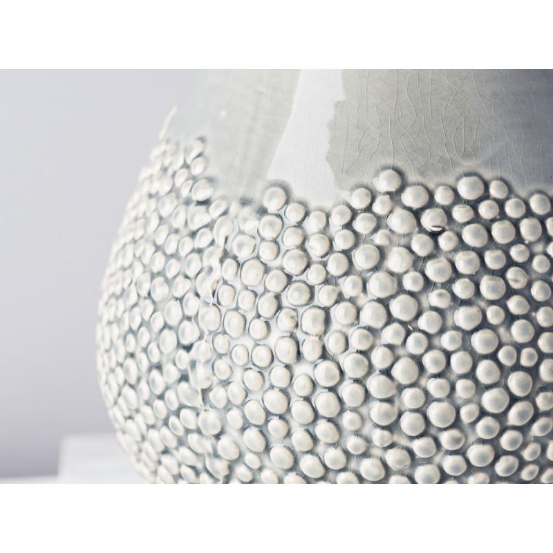 Bloomingville Vase Grau Keramik bauchig 17 cm hoch Blumenvase mit erhabenen Punkten Modern Design Detail
