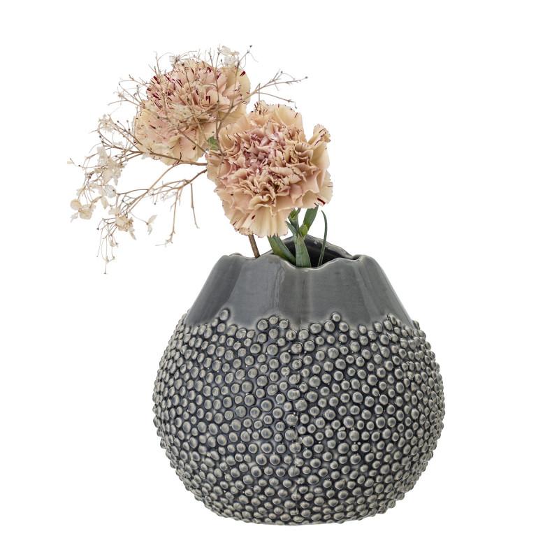 Bloomingville Vase Grau Keramik Kugelform 17 cm hoch Blumenvase mit Punkte Design fühlbar