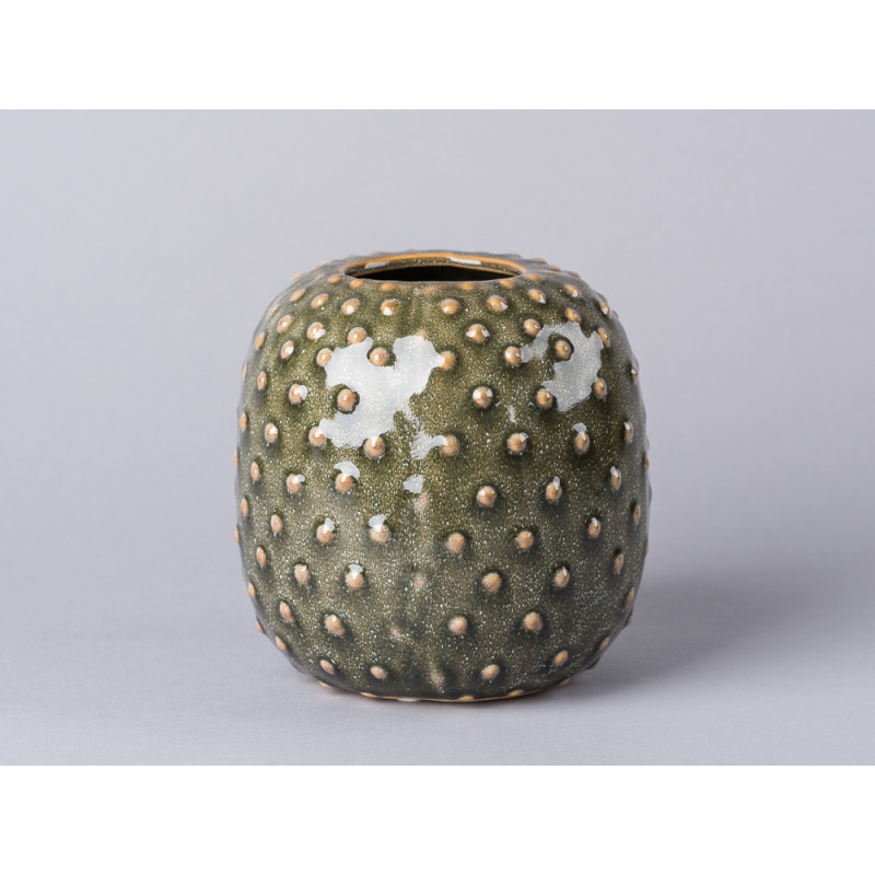 Bloomingville Vase grün Keramik rund Blumenvase mit Kaktus Struktur
