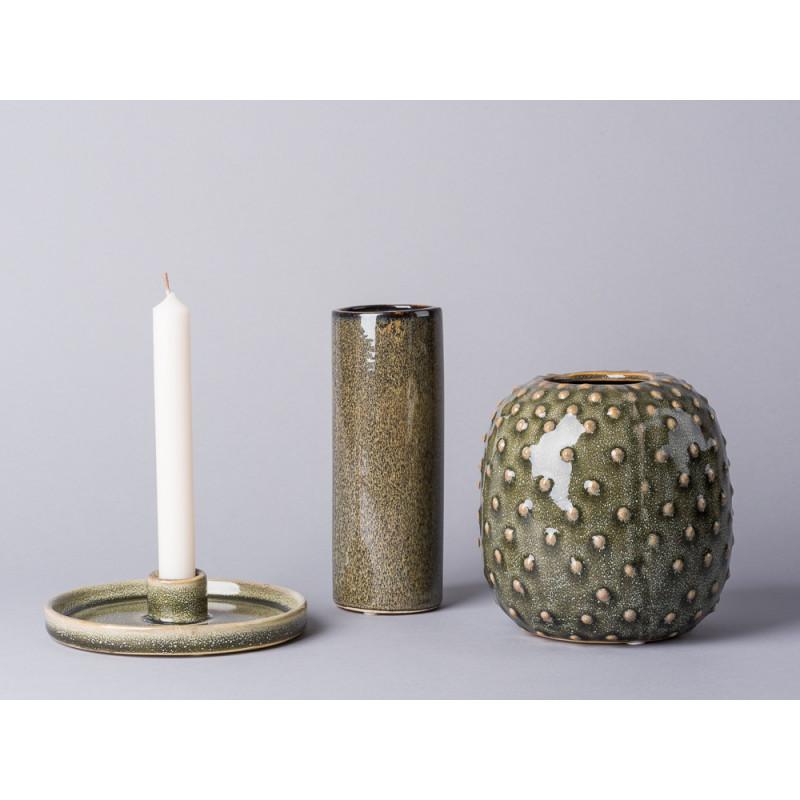 Bloomingville Vase grün rund Zylinder Form Kaktus Design und Kerzenhalter Keramik grün