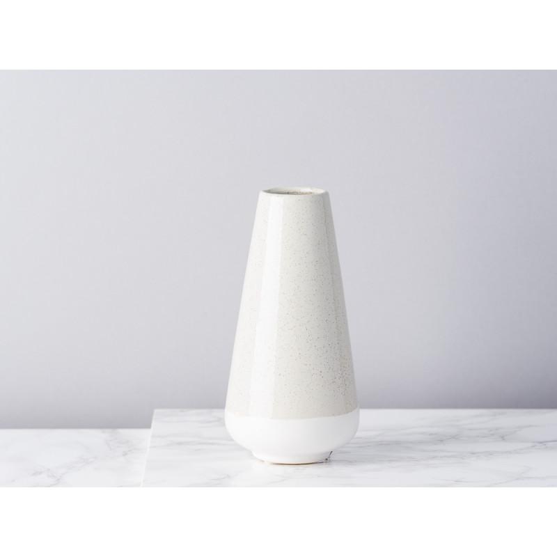 Bloomingville Vase hellgrau creme aus Keramik 16 cm Blumenvase konische klein