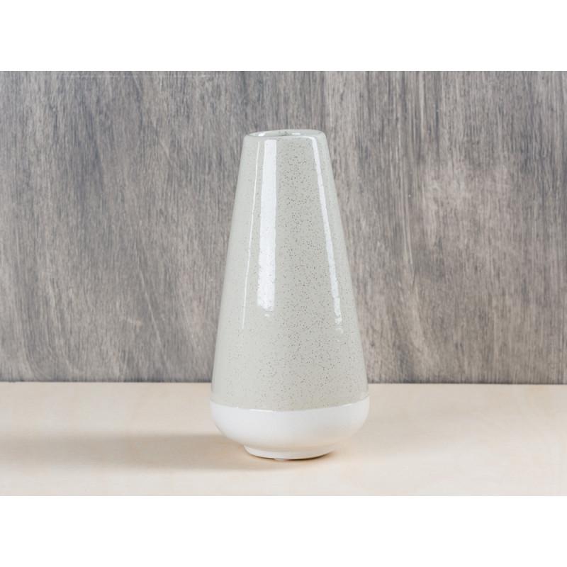 Bloomingville Vase hellgrau creme aus Keramik konische Form klein