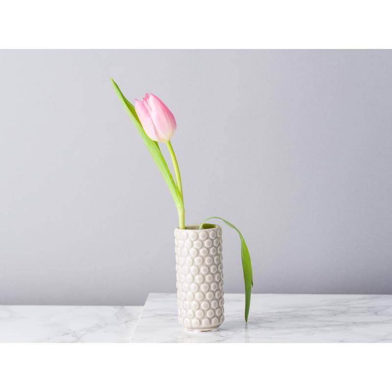 Bloomingville Vase hellgrau grau rund mit erhabenen Punkten 9 cm hoch Blumenvase aus Keramik fuer eine Blume Tulpe