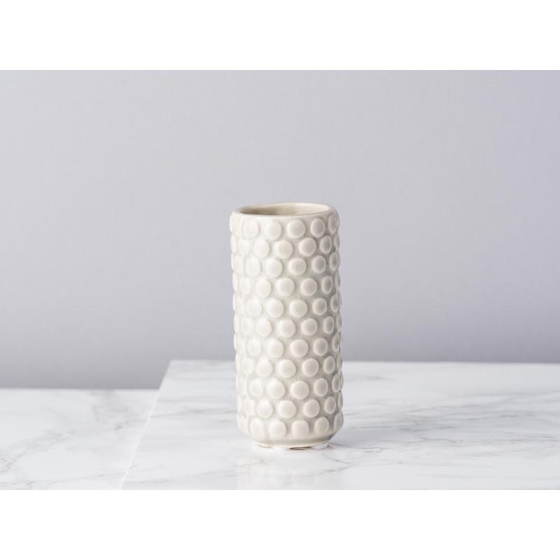Bloomingville Vase hellgrau grau rund mit erhabenen Punkten 9 cm hoch Blumenvase aus Keramik