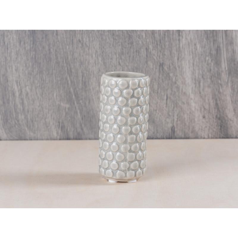 Bloomingville Vase hellgrau rund mit Punkten stone dots 9 cm hoch grau
