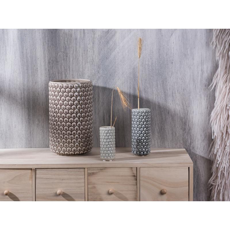 Bloomingville Vase Keramik rund mit Punkten 9 13 21 cm hoch grau hellgrau mittelgrau