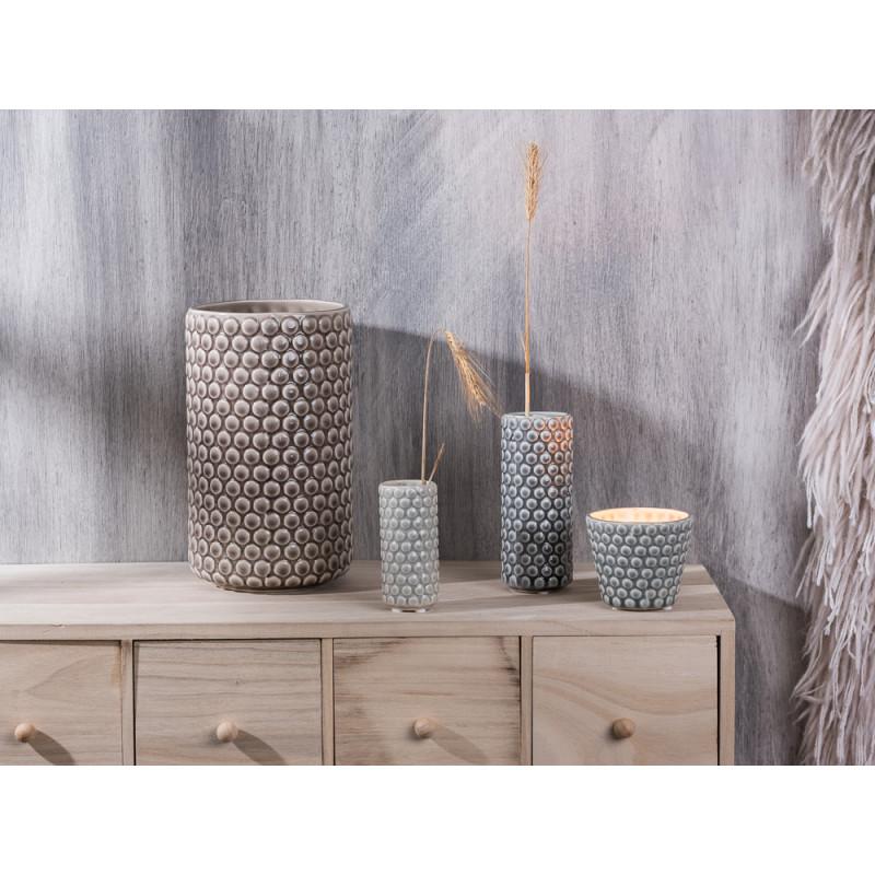 Bloomingville Vase Keramik rund mit Punkten Votive Windlicht grau hellgrau mittelgrau