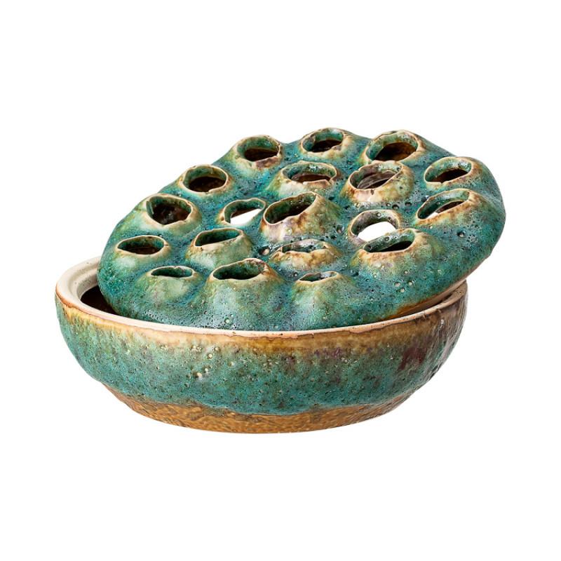 Bloomingville Vase mit Deckel Grün Blumenvase aus Keramik 18 cm Detail Deckel