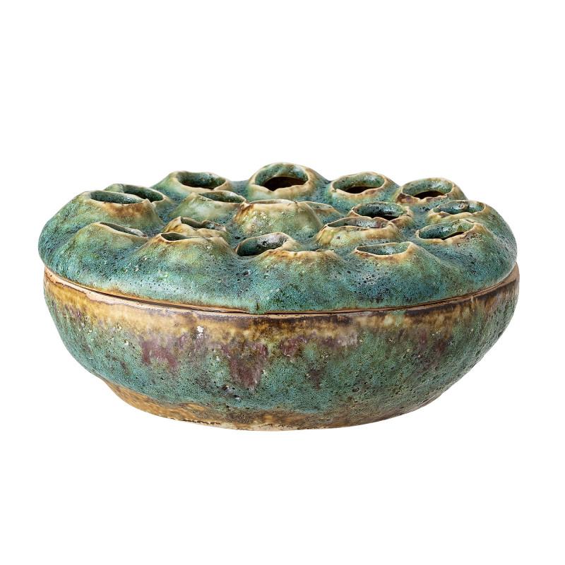 Bloomingville Vase mit Deckel Grün Blumenvase aus Keramik 18 cm