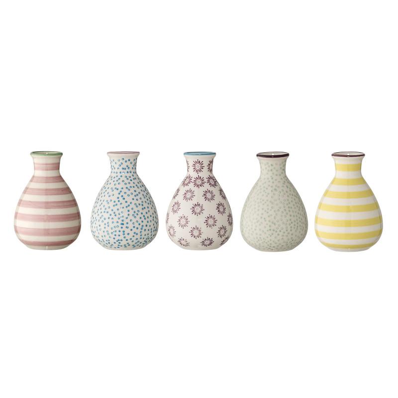 Bloomingville Vase Patrizia Keramik 11 cm hoch Set mit 5 Vasen im Set unterschiedliche Muster
