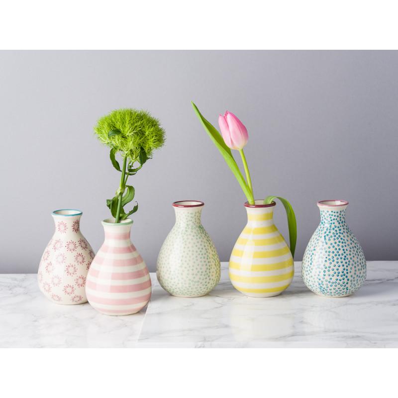 Bloomingville Vase Patrizia Keramik 11 cm hoch Set mit 5er Set Vasen Muster Bunt gelb rot blau mit Blumen dekoriert