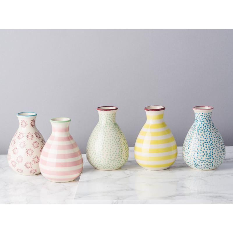 Bloomingville Vase Patrizia Keramik 11 cm hoch Set mit 5er Set Vasen Muster Bunt gelb rot blau