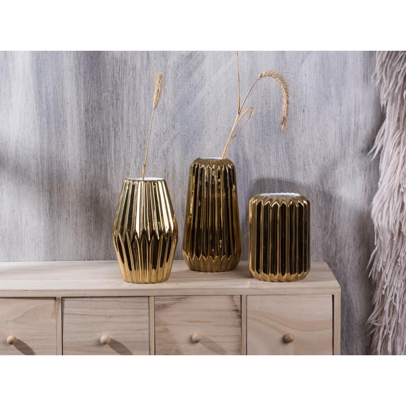 Bloomingville Vase Porzellan gold mit Rillen rund konisch Rhombus 14 16 18 cm hoch