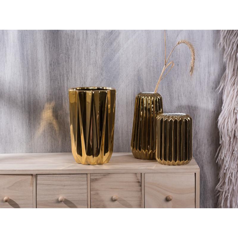 Bloomingville Vase Porzellan gold Vertikal mit Rillen Struktur konisch Rhombus 16 18 20 cm hoch vertically structure