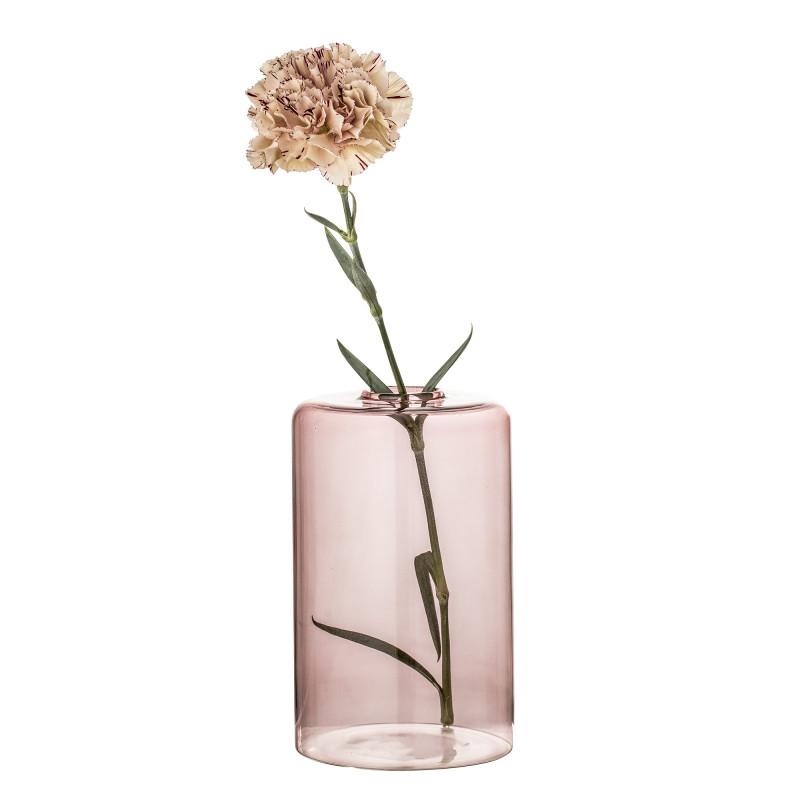 Bloomingville Vase Rosa Glas Blumenvase große Zylinder Form 16 cm hoch Durchmesser 10 cm Hochzeitsdekoration