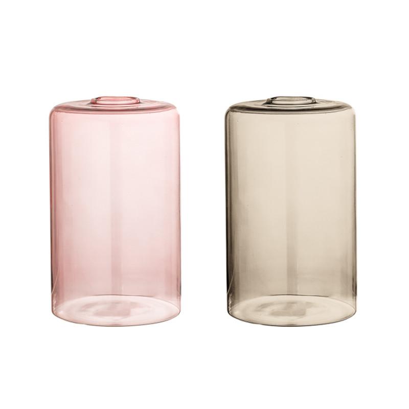 Bloomingville Vase Rosa und braun Glas Blumenvase grosse Zylinder Form 16 cm hoch Durchmesser 10 cm Hochzeitsdekoration