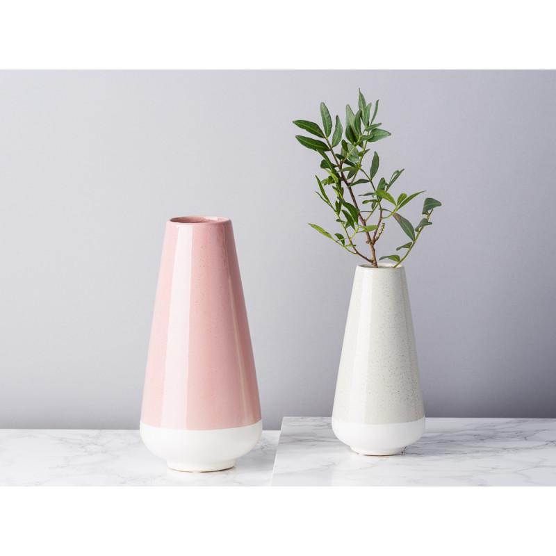 Bloomingville Vase rosa und hellgrau creme aus Keramik Blumenvase konische groß und klein schlicht dekoriert mit Zweig