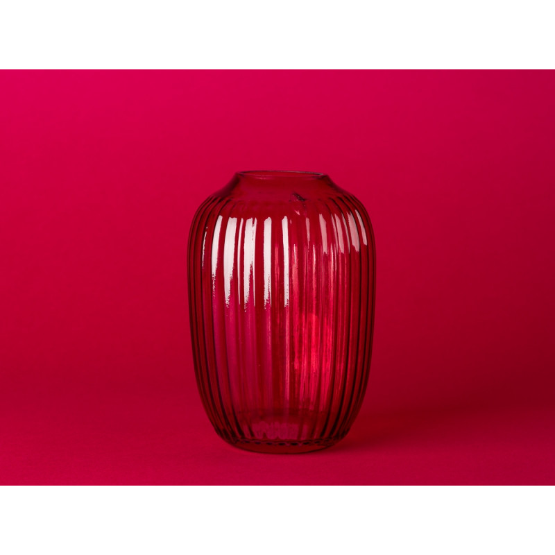 Bloomingville Vase rot aus Glas 14 cm große Blumenvase