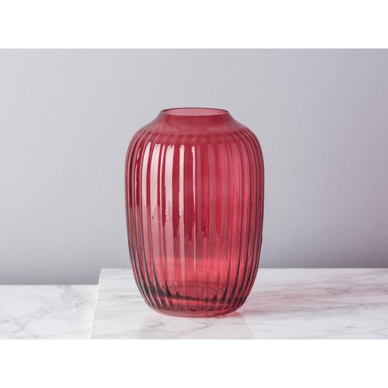 Bloomingville Vase rot Glas mit Rillen Struktur Blumenvase 14 cm hoch modern