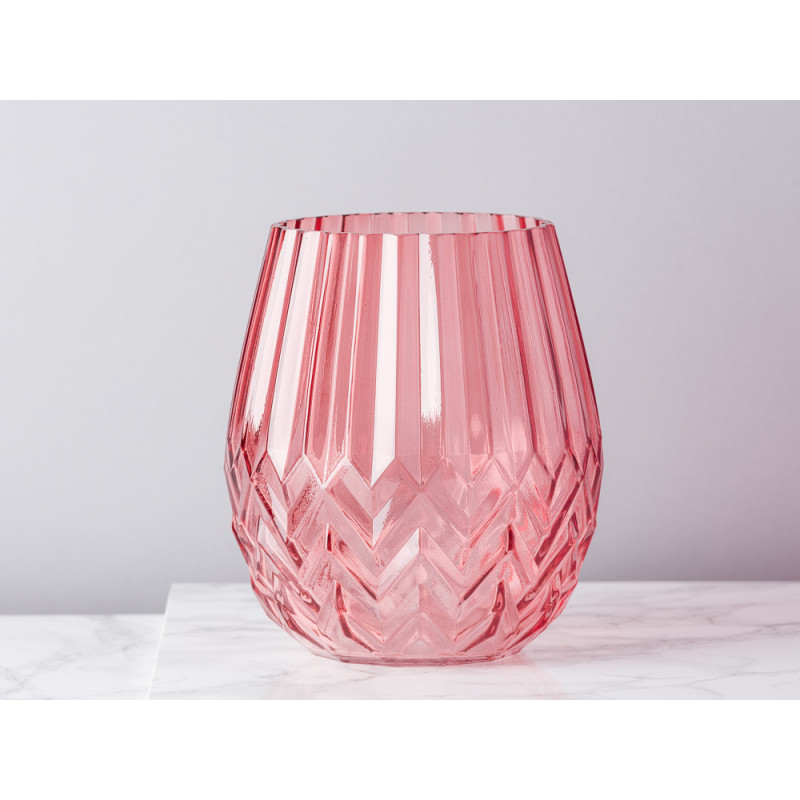Bloomingville Vase rot Glas mit Rillen und Fasen Blumenvase 17 cm hoch