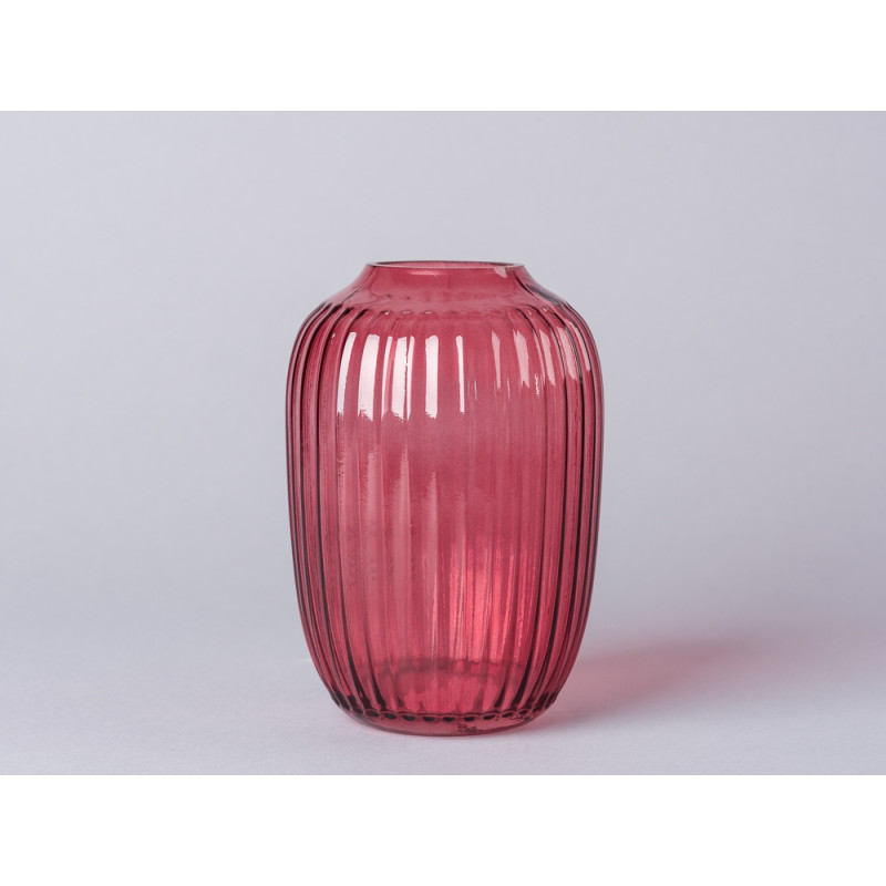 Bloomingville Vase rot im Art Deco Look 14 cm