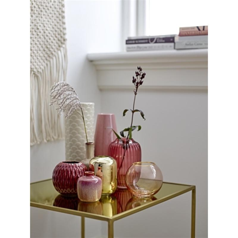 Bloomingville Vase rot Keramik 10 cm und Glas 14 cm groß