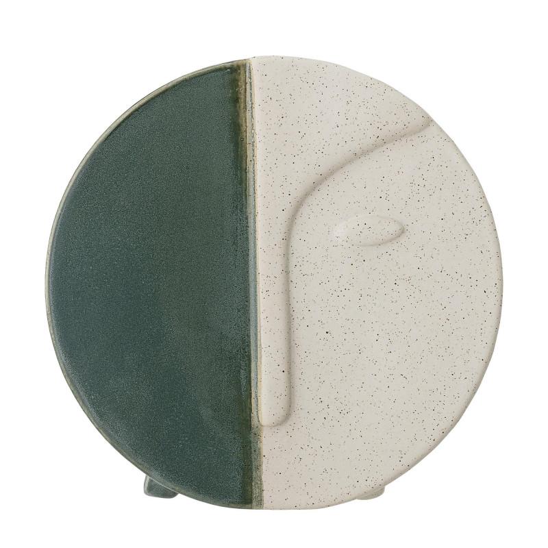 Bloomingville Vase Rund mit Gesicht Grün Weiß 18 cm Tischvase Wandvase Keramik Bloomingville Produkt Nummer 82046533