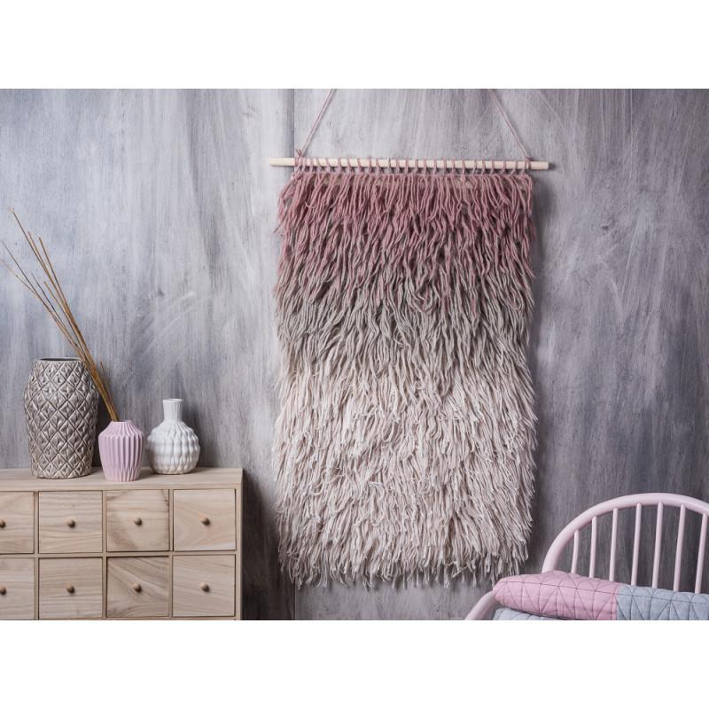 bloomingville wandteppich in beige grau rosa mauwe deko. Black Bedroom Furniture Sets. Home Design Ideas