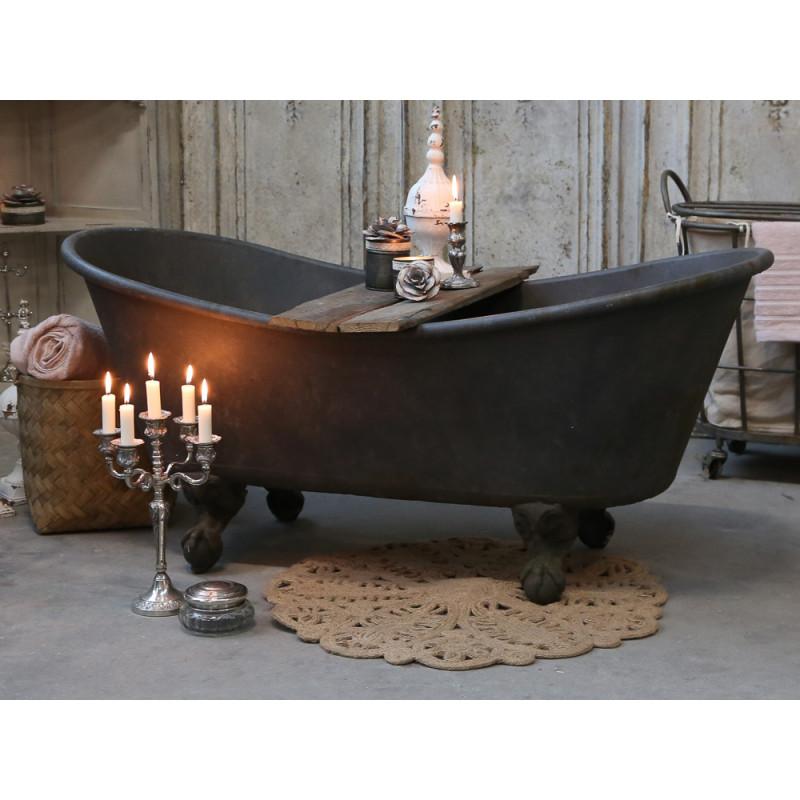 Chic Antique Deko Badewanne mit Löwenfüßen aus Metall 100 Liter 129x56x59 cm Dekoration für den Wohnraum rustikal Shabby Chic mit 2 Holz Brettern