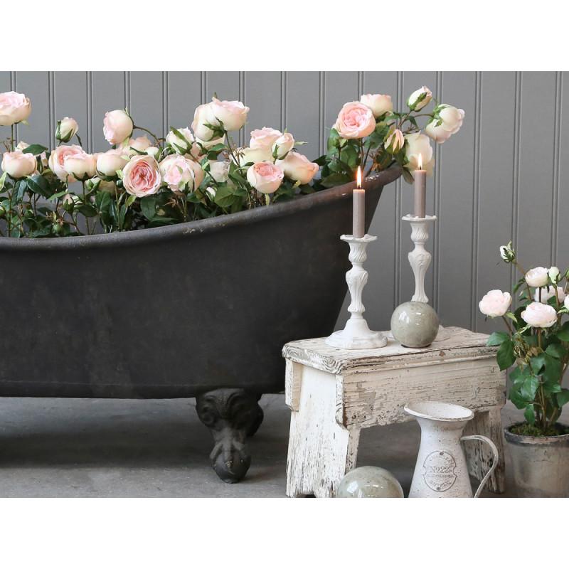 Chic Antique Deko Badewanne mit Löwenfüßen aus Metall Schwarz 100 Liter 129x56x59 cm zum dekorieren mit Blumen und Pflanzen im Landhaus Style