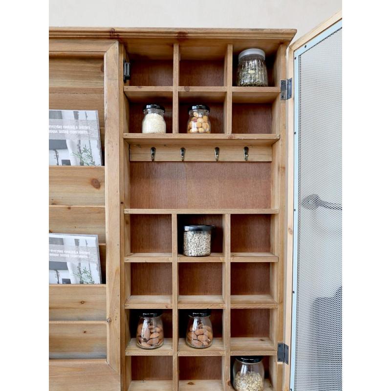 Chic Antique Post Sortierschrank aus Holz mit Fliegengitter altfranzösischer Landhaus Charm Setzkasten mit Tür für Gläser und Kräuter in der Küche