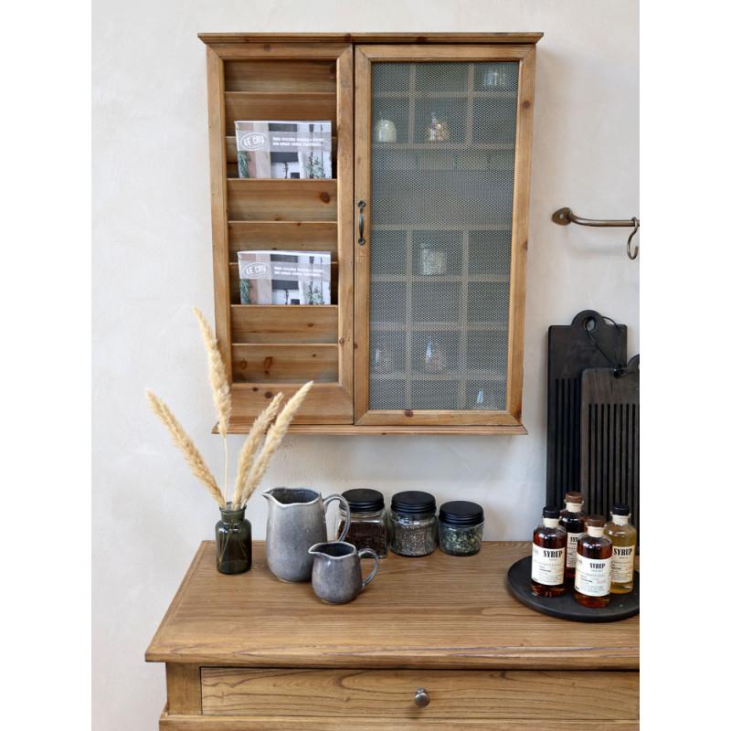 Chic Antique Post Sortierschrank aus Holz mit Gitter aus Metal altfranzösischer Landhaus Charm praktisches Kleinmöbel in Hygge Style