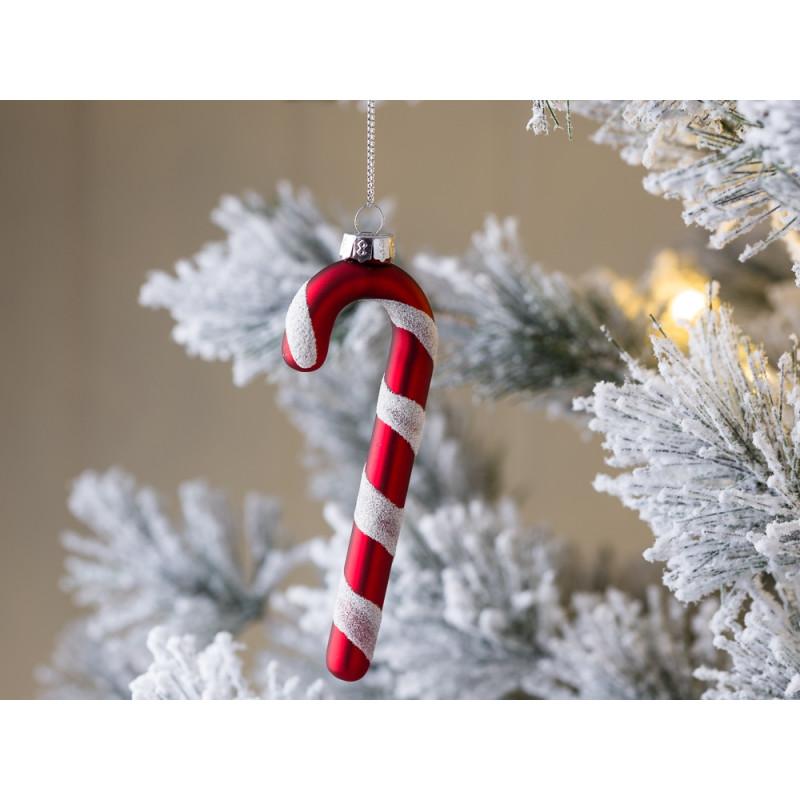 Christbaum Schmuck Zuckerstange matt rot weiß gestreift Hänger für Tannenbaum